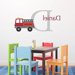 Fire truck Decal Set - Initial & Name Personalized Truck Wal