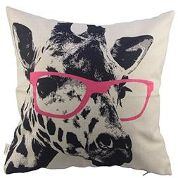 HOSL Animal Style Giraffe Pink Glasses Sofa Simple Home Deco