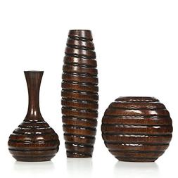 "Hosley Carved Wood Vases; Small 6"", Medium 8"" and Tall 12"" H"