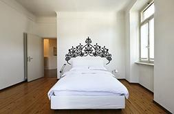 Princess Crown Tiara with Butterfly Faux Headboard Vinyl Wal