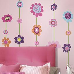 RoomMates RMK1622GM Flower Stripe Peel & Stick Giant Wall De