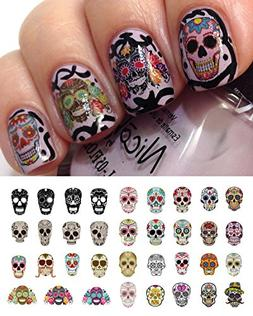 Sugar Skull Nail Decals Assortment #1 Water Slide Nail Art D