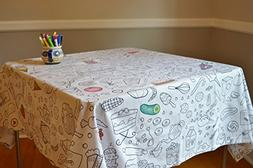 The Coloring Table - Colorable Food Fun Tablecloth - XL Rect