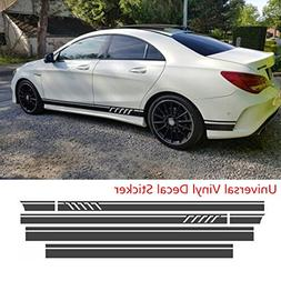 Universal Black Car Racing Body Side Stripe Skirt Roof Hood