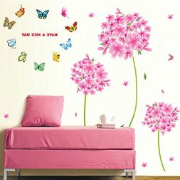Wall Decal Pink Flowers Blue Butterflies Home Sticker House
