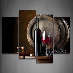 Wine And Fruit With Glass And Barrel Wall Art Painting For K