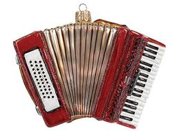Accordion Musical Instrument Polish Glass Christmas Ornament