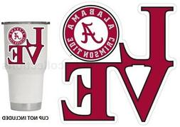 "Alabama Crimson Tide LOVE 3"" Premium Die-Cut Vinyl Decal Sti"