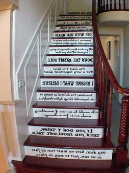 Alice Story Book Quote Set Vinyl Stairs or Wall Decal  Chesh