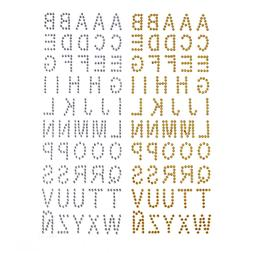 Alphabet Letters Rhinestone Stickers, 1-Inch, 50-Count