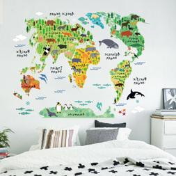 Animal Educational World Map Wall Sticker Decal For Kids Bab