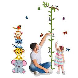 Uelfbaby Animals Height Measurement Wall Decal Home Sticker