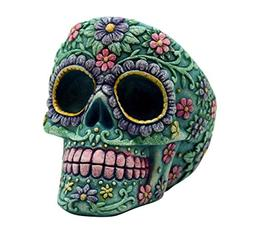 Aqua Pink Day of the Dead Sugar Skull Tall Ashtray Mexican D