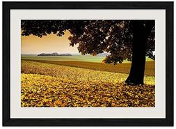 Autumn Big Tree - Art Print Wall Black Wood Grain Framed Pic