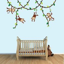 Green and Brown Monkey Wall Decal for Baby Nursery or Kid's