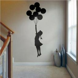 Banksy Girl and Balloons Wall Stickers Bedroom Decal Home Mu