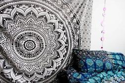 Black and Gray Ombre Mandala Twin Tapestry Hippie Wall Hangi