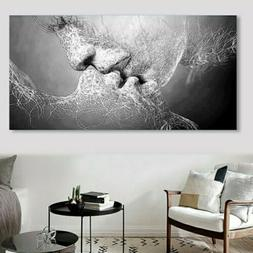 Black & White Love Kiss Abstract Canvas Print Painting Wall