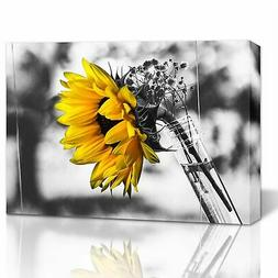 Black and White Yellow Sunflower Wall Art Framed Canvas