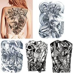 4 Sheets Black Big Large Full Back Chest Temporary Tattoo St