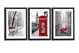 Black White And Red Wall Art Print Posters Eiffel Tower Deco