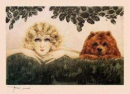 Fashion Blond Girl Lady with Chow Dog Two Beauties Art by Lo