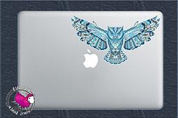Blue Pattern Flying Owl  Color Vinyl Decal Sticker Car Windo