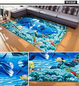 Blue Sea Theme Dolphin 3D Ocean Dolphin Fishes Pattern Blue