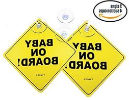 Now with 4 Stronger Suction Cups . Baby on Board car Sign wi