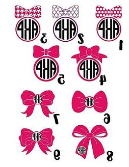 Bow Decal with Monogram for Kids, Women, Mom, Daughter Tumbl