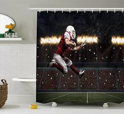 Boy's Room Shower Curtain by Lunarable, Football Player in a