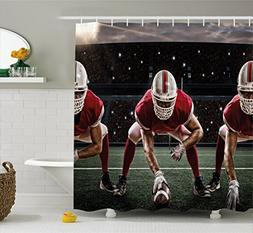 Boy's Room Shower Curtain by Lunarable, Sports Team Players