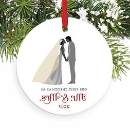 Mr & Mrs Ornament 2018 First Christmas Married Couple Cerami
