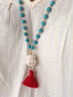 "Buddha Yoga Necklace blue beads chain 25""/ 63.5 cm long"