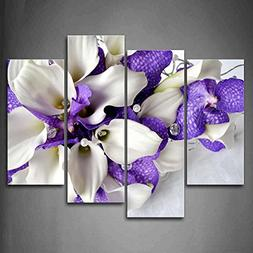 Bunch Of Flowers In White And Dark Purple Wall Art Painting