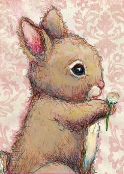 Oopsy Daisy Bunny and Clover Canvas Wall Art, Pink/Brown, 10
