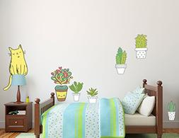 Cactus and Cat Wall Decal - Kids - Teens Room Wall Decal