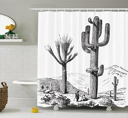 Cactus Decor Shower Curtain by Ambesonne, Sketchy Hand Drawn