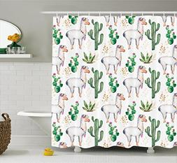 Cactus Decor Shower Curtain by Ambesonne, Hot South Desert P
