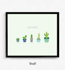 Cactus print, wall art, inspirational quote, wall decor, min