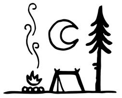 Camp Fire and tent Die cut Vinyl Decal -campfire Hiking Car