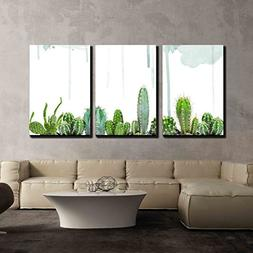 wall26 - 3 Piece Canvas Wall Art - Various Cacti on Watercol