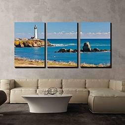 wall26 - 3 Piece Canvas Wall Art - Pigeon Point Lighthouse o