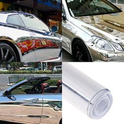 Car silver glossy mirror stretchable chrome vinyl wrap decal