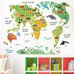 cartoon animals world map stickers wall sticker for kids roo