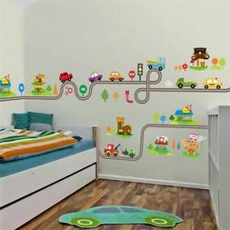 Cartoon Car Track Wall Stickers For Kids Rooms Sticker Home