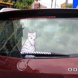 BEMOST Cartoon Funny Cat Moving Tail Stickers Reflective Car