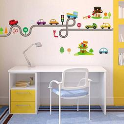BIBITIME Cartoon Nursery Wall Decals Road Car Truck Traffic