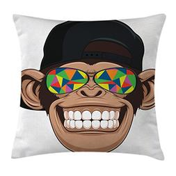 Cartoon Throw Pillow Cushion Cover by Ambesonne, Fun Hipster