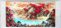 Chinese Traditional Landscape Scrolled Painting Red Sunrise